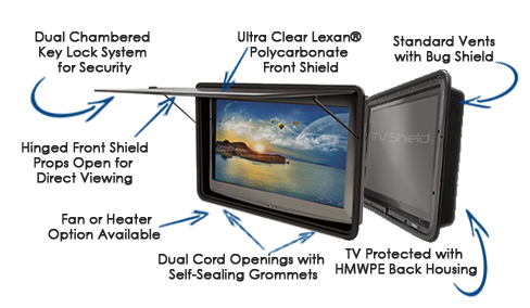 The TV Shield waterproof tv cabinets features